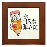 Happy Pencil 1st Grade Framed Tile