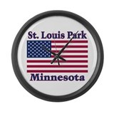 St. Louis Park Flag Large Wall Clock