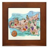 Map Of Sicily Framed Tile
