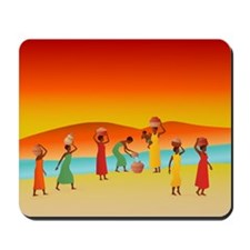 African Women Collecting Water: Mousepad