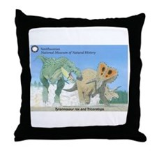 TrexTriceratops Throw Pillow