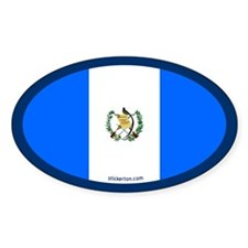 Guatemalan Flag Oval Decal