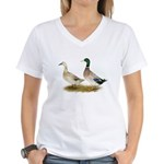 Ducks: Silver Welsh Harlequi Women's V-Neck T-Shir