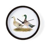 Ducks: Silver Welsh Harlequi Wall Clock