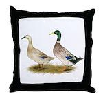 Ducks: Silver Welsh Harlequi Throw Pillow
