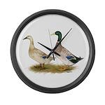 Ducks: Silver Welsh Harlequi Large Wall Clock