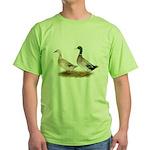 Ducks: Silver Welsh Harlequi Green T-Shirt