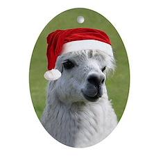 Alpaca Christmas Oval Ornament