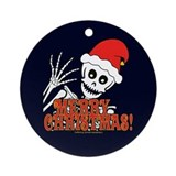 Merry Christmas Skeleton Ornament (Round)