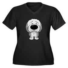 Big Nose Sheepdog Women's Plus Size V-Neck Dark T-
