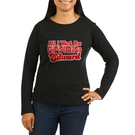 Edward Christmas Women's Long Sleeve Dark T-Shirt