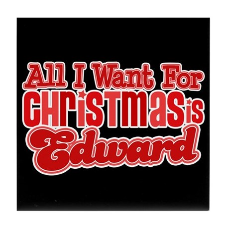 Edward Christmas Tile Coaster