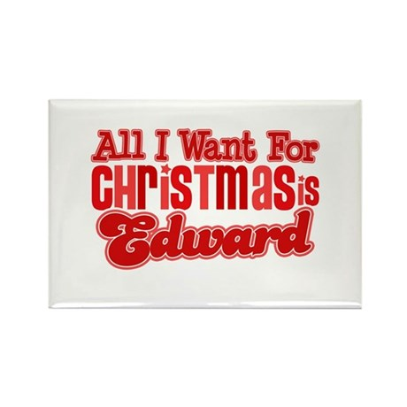 Edward Christmas Rectangle Magnet