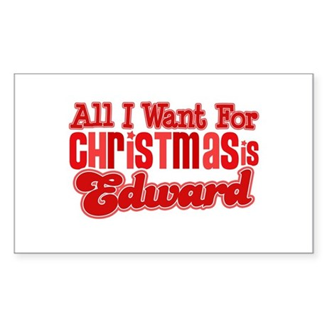 Edward Christmas Rectangle Sticker