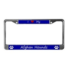 Blue I Love My Afghan Hounds License Plate Frame