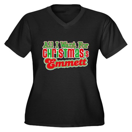 Christmas Emmett Women's Plus Size V-Neck Dark T-S