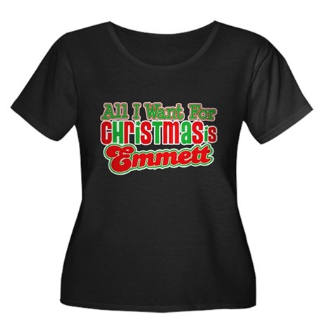 Christmas Emmett Women's Plus Size Scoop Neck Dark