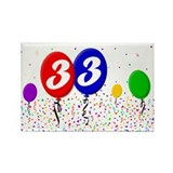 33rd Birthday Rectangle Magnet (100 pack)