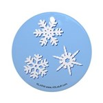 3-D Snowflakes White Ornament (Round)