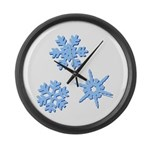3-D Snowflakes Large Wall Clock