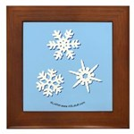 3-D Snowflakes White Framed Tile