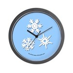 3-D Snowflakes White Wall Clock