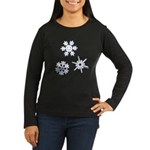 3-D Snowflakes White Women's Long Sleeve Dark T-Sh