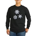 3-D Snowflakes White Long Sleeve Dark T-Shirt