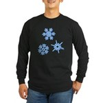 3-D Snowflakes Long Sleeve Dark T-Shirt