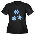 3-D Snowflakes Women's Plus Size V-Neck Dark T-Shi
