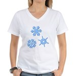 3-D Snowflakes Women's V-Neck T-Shirt