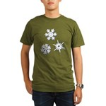 3-D Snowflakes White Organic Men's T-Shirt (dark)