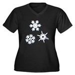3-D Snowflakes White Women's Plus Size V-Neck Dark