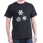 3-D Snowflakes White Dark T-Shirt