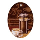 Cute Coffee Oval Ornament