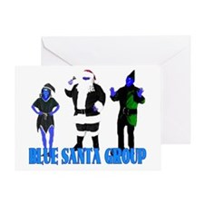 Blue Santa Group Greeting Card