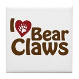 I Love Bear Claws Tile Coaster