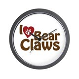I Love Bear Claws Wall Clock