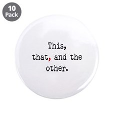"Red Serial Comma 3.5"" Button (10 pack)"
