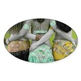 Antique Belly Dance Trio Oval Decal