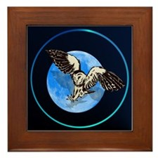 Blue Moon Owl Framed Tile
