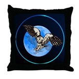 Blue Moon Owl Throw Pillow