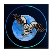 Blue Moon Owl Tile Coaster