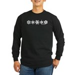 Winter Snowflakes White Long Sleeve Dark T-Shirt