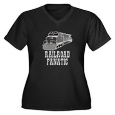 Ralroad Fanatic Women's Plus Size V-Neck Dark T-Sh