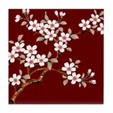 Japanese textile Cherry tree Tile Coaster