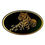 Gold Tiger Oval Decal