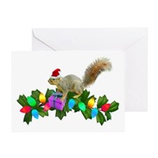 Squirrel Christmas Lights Greeting Card