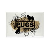 Swirly Pug Rectangle Magnet