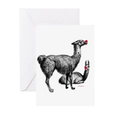 Red Nosed Llamas Greeting Card